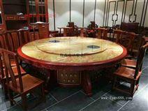 电动转盘圆桌 输送带椭圆餐桌 新中式大圆桌