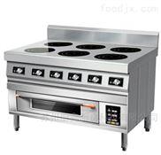 商用电磁炉定制6眼煲仔炉+烤箱一体化